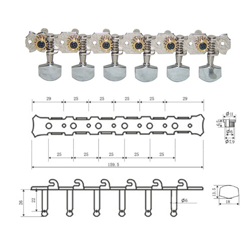 DR Parts AMH0200/CR ključevi za akust gitaru 12st.