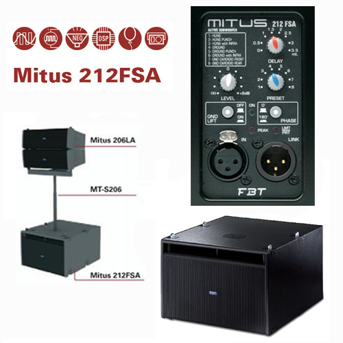 FBT MITUS 212FSA 1200w aktivni sub bas zvučnik