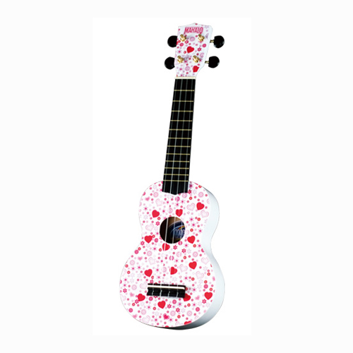 MAHALO U/HEART ukulele/hawaii gitara set