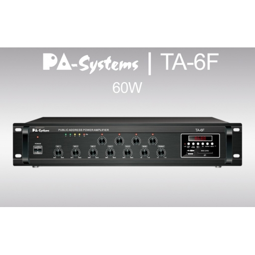 SAR PA-Systems TA-6F, 100V 60W pojačalo sa FM tunerom i USB playerom