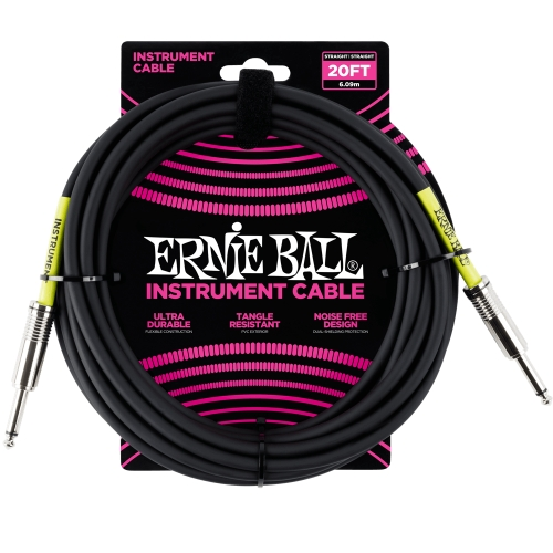 Ernie Ball kabel P06046 - 20FT(6,1m) COILED 6,3mm - 6,3mm instrument - crna boja