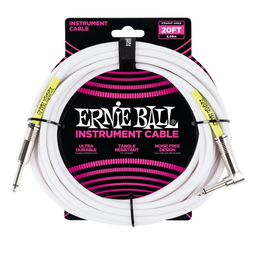Ernie Ball kabel P06047 - 20FT(6,1m) COILED 6,3mm ravni - 6,3mm kutni instrument - bijela boja