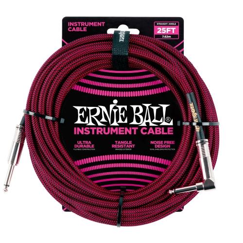 Ernie Ball kabel P06062 - 25FT(7,62m) BRAIDED 6,3mm - 6,3mm L instrument - BLK/RED boja