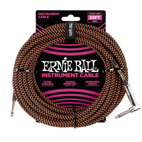 Ernie Ball kabel P06064 - 25FT(7,62m) BRAIDED 6,3mm - 6,3mm L instrument - BLACK/ORANGE boja
