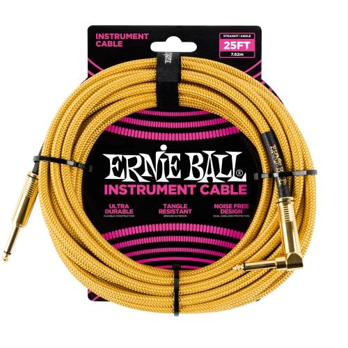 Ernie Ball kabel P06070 - 25FT(7,62m) BRAIDED 6,3mm - 6,3mm L instrument - GOLD boja