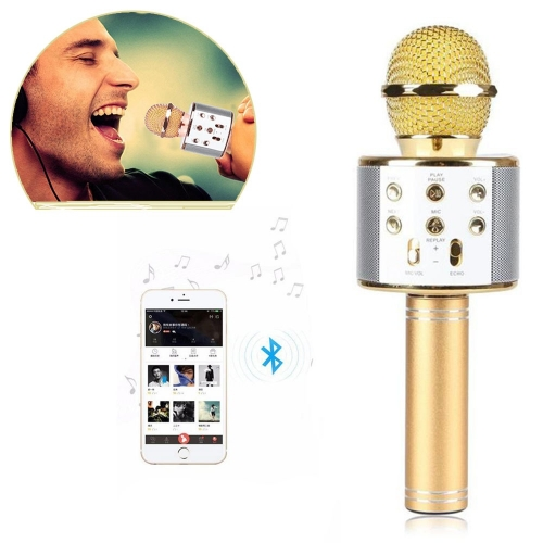 KARAOKE WS-858 USB-player Bluetooth karaoke mikrofon - GOLD