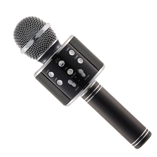 KARAOKE WS-858 USB-player Bluetooth karaoke mikrofon - BLACK