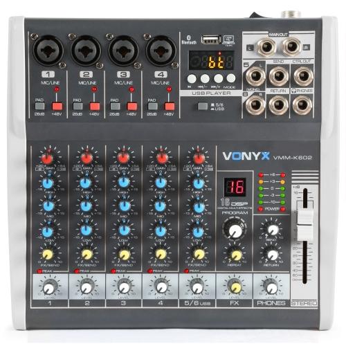 SkyTec VONYX VMMK602 6Ch/BT/Echo/USB/Rec/DSP mikseta