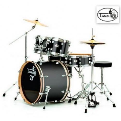 TAMBURO T5S22BSSK BLACK SPARKLE akustični bubanj sa stalcima i činelama