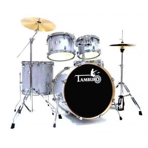 TAMBURO T5S22SLSK SILVER SPARKLE akustični bubanj sa stalcima i činelama