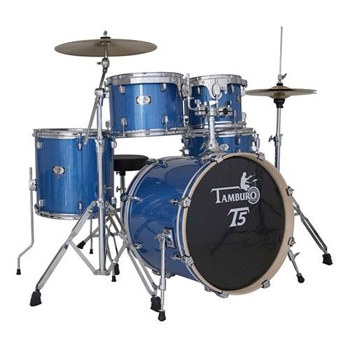 TAMBURO T5S22BLSK BLUE SPARKLE akustični bubanj sa stalcima i činelama