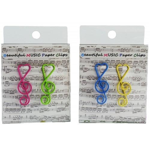 AGIFTY C 1026 Paper clip g-clef 4 colors assorted (12 pcs/pack) H:4 cm - kopča za papir