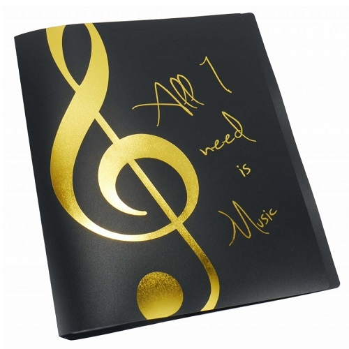 AGIFTY F 1024 Display book \'\'All I need is Music\'\' golden A4/20 pockets - fascikla