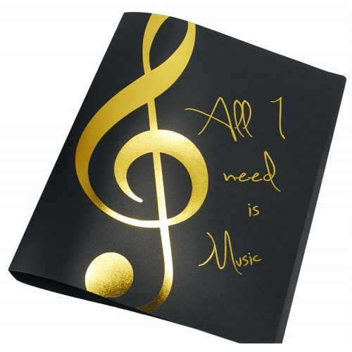 AGIFTY F 1027 Ring binder \'\'All I need is Music\'\' golden A4/2 rings/20 mm - fascikla