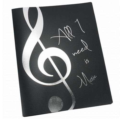 AGIFTY F 1033 Display book \'\'All I need is Music\'\' silver A4/20 pockets - fascikla