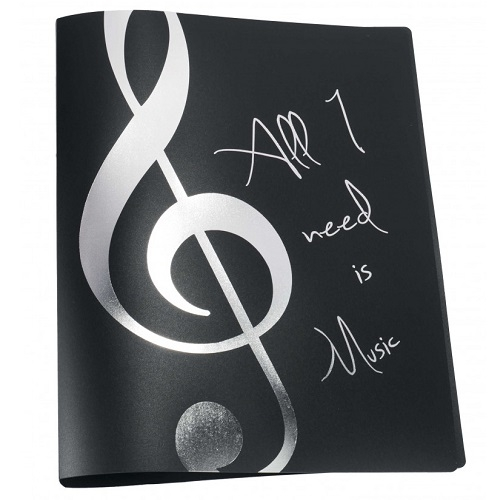 AGIFTY F 1034 Ring binder \'\'All I need is Music\'\' silver A4/2 rings/20 mm - fascikla