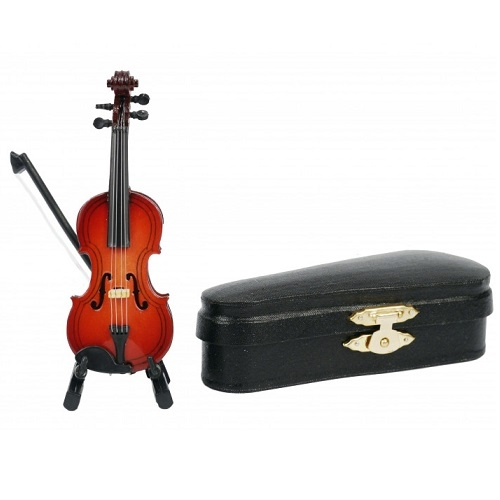 AGIFTY I 1042 Violin with arc with stand&gift; case (Geige=10 cm) - mini ukrasni instrument