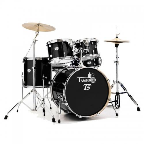 TAMBURO T5S18BSSK BLACK SPARKLE akustični bubanj sa stalcima i činelama