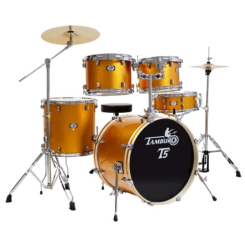 TAMBURO T5S22YWSK YELLOW SPARKLE akustični bubanj sa stalcima i činelama